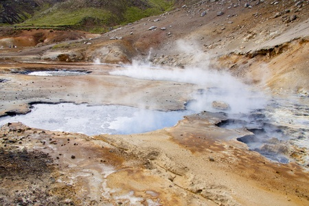 grindavik: Geothermal area in Iceland. Colorful Sulphur on the ground. Beauty view
