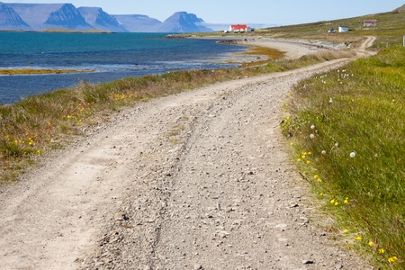 dirt road: Gravel country route in Iceland  Unadsdalur  Summer time