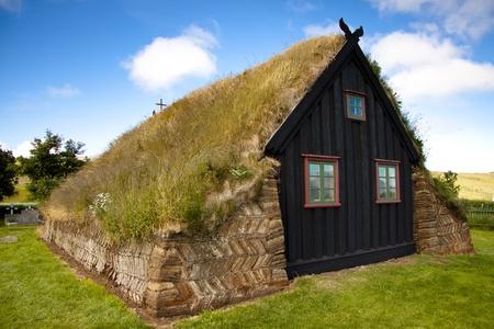 Old wooden church at Vidimyri. Iceland summer sunny day.