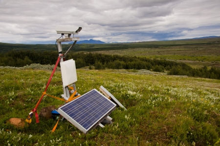Security camera with solar in nature - Iceland Stock Photo - 17303162