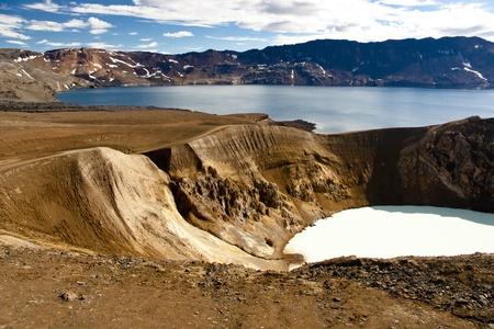 Vitio geothermal lake and Oskjuvatn lake near Askja - Iceland. Stock Photo