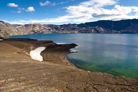Oskjuvatn lake in interior of Iceland near Askja. Banque d'images
