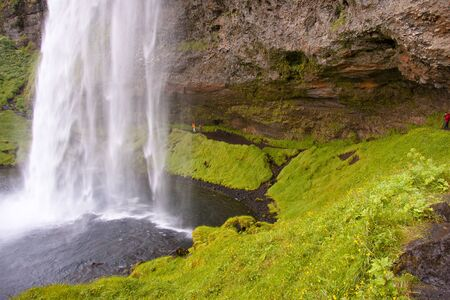 Part of beauty big Seljalandsfoss waterfall - South of Iceland Stock Photo
