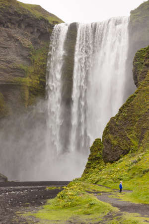 Beauty big waterfall in south of Iceland - Skogafoss. photo