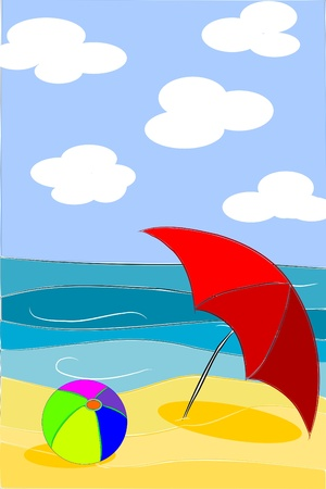 Beach beauty colorful illustration - vector Illustration