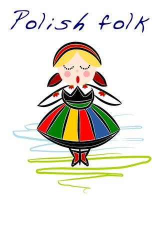 Beauty Poolse Nationale etnische kostuum Vector Illustratie
