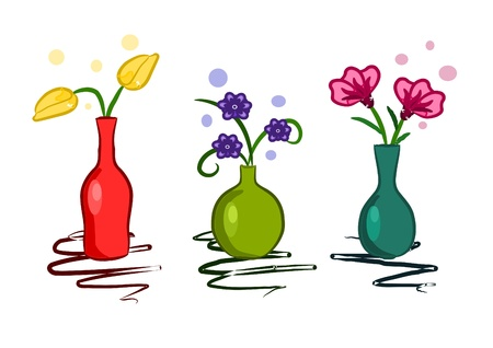 Beauty colorful vase with flowers  Illustration