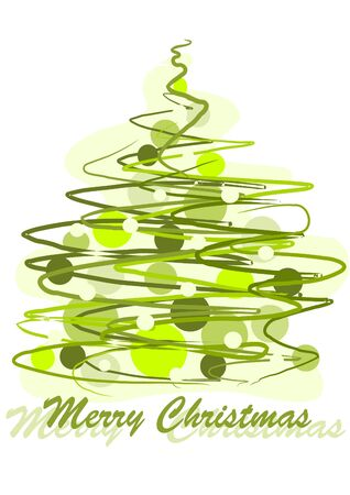 ornamented: Pattern green christmas tree - colorful illustration