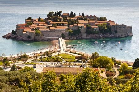 sveti: Aerial view on Sveti Stefan - Montenegro Balkans. Stock Photo