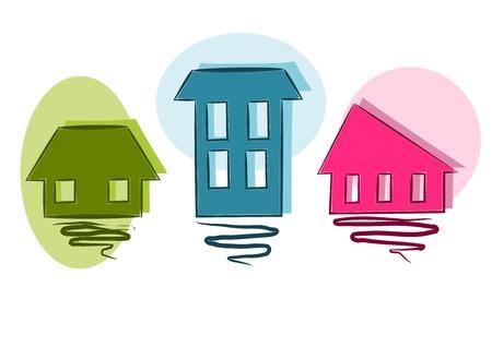 Trois simples color� mais la beaut� des maisons symbole - vecteur