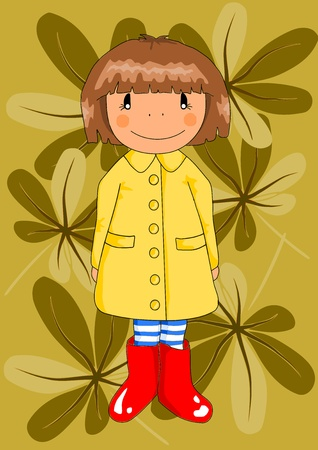 gril: Happy young gril in red wellingtons and yellow raincoat - autumn day. Vector Illustration