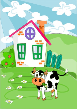 Happy cow with flowers on the green meadow in background farm house - vector Vector