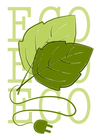 Take enegry from green leafs - vector Stock Vector - 10846113
