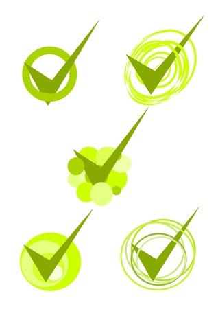 web survey: Cinco s�mbolos de color verde aceptados - vector