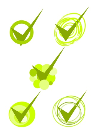 Five green accepted symbols - vector Illustration