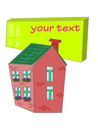 Beuaty, brick family house with table for your text - vector Stock Vector - 10846173