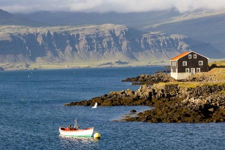 Djupivogur small fishing town in Iceland. Summer day. Standard-Bild