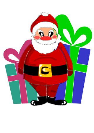 Big colorful gifts and happy santa claus Vector