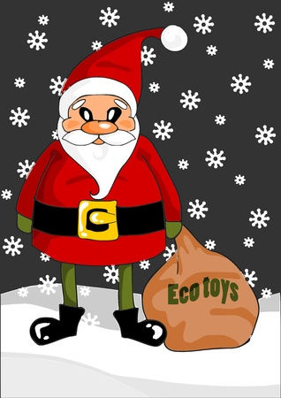 Santa Claus with eco toys bag - holidays time Vector