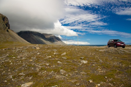 Beauty view on Hvalnes cliffs South east part of Iceland. photo
