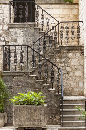 Kotor, Montenegro, Beauty pattern stones stairs. UNESCO town. photo