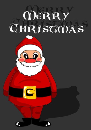 Red happy Santa Claus on black background Vector