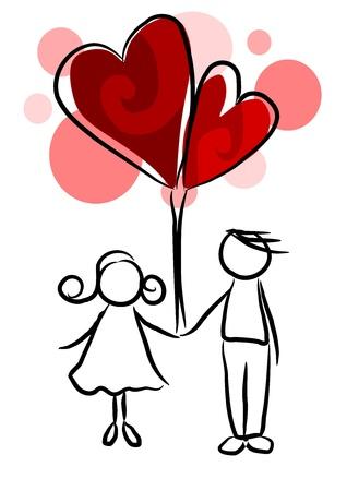Couple amoureux - illustration de beaut�, le temps de valentine.
