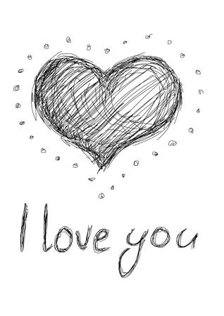 I love you - beauty pattern putline heart
