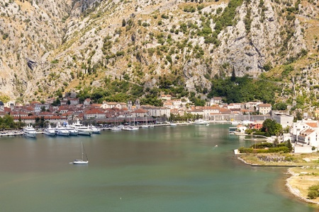 Aerial view on old town of Kotor Montenegro. photo