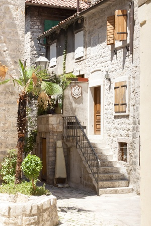 Small city street in Kotor town in Montenegro. photo