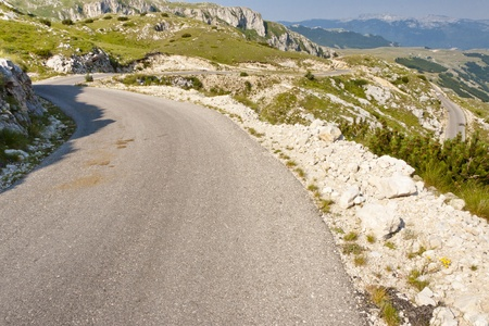 Hairpin road in Durmitor National park in Montenegro photo