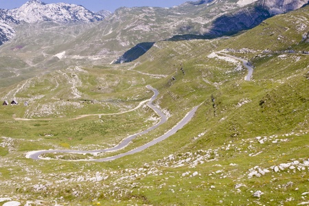 switchback: Hairpin road in Montenegro, aerial view. Durmitor National Park. Stock Photo