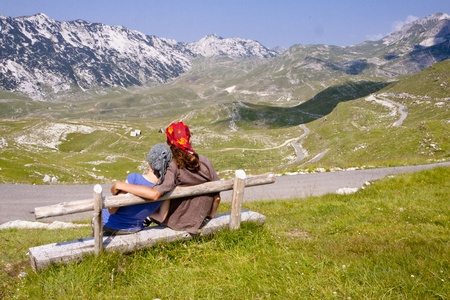 Couple in love in Durmitor National Park - Montenegro. photo
