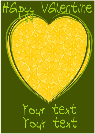 gash: Lemons hearts - beauty yellow card, illustration.