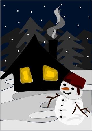 datcha: Vue d'hiver dans la nuit - bonhomme de neige et chalet en bois.