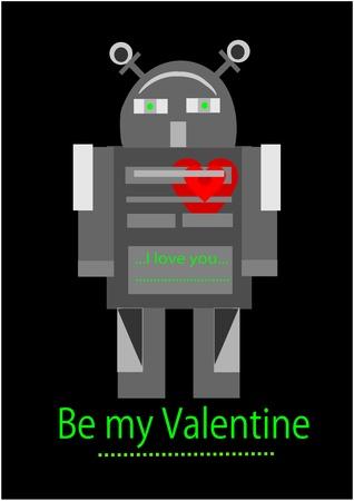 Valentine time - robot in love. Vector illustration. Vector