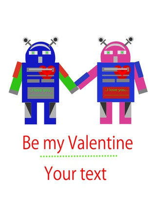 animated alien: Couple in love - colorful robots. Valentine time.