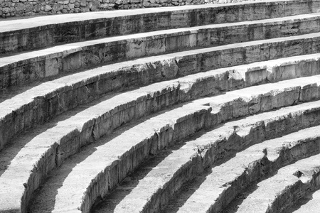 Ohrid old amphitheater. town in Macedonia, Balkans.