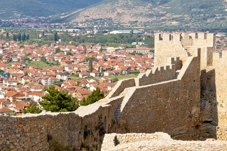 balkan: View on Ohrid town from old fort. Macedonia. Stock Photo