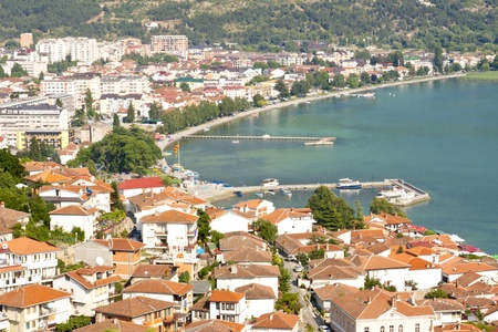 Aerial view on Ohrid old town - Macedonia, Balkans. Stock Photo