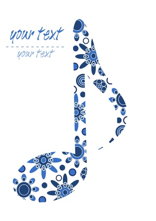 musical score: Pattern blue big note with place for your text Illustration