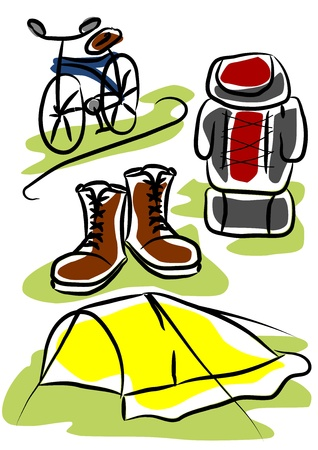 Simple object - travelling equipment. Tent, shoes backpack and bicycles. Vector