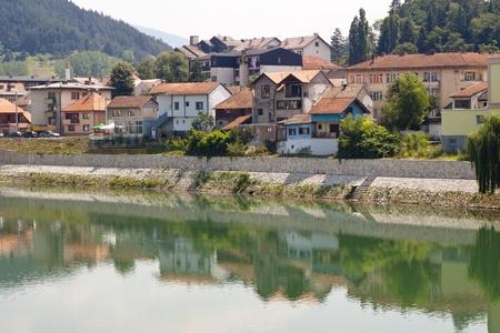 View on coast of Drina river - Visegrad village, Bosnia and Herzegovina, Balkans. photo