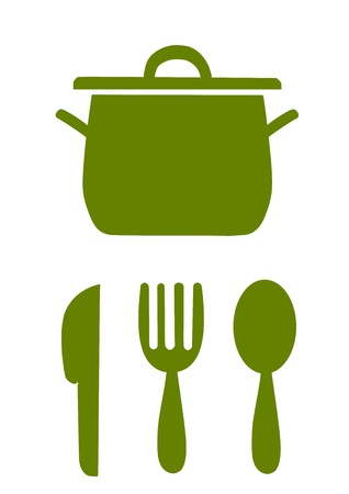 stew pot: Simple kitchen symbols, green illustration - vector.