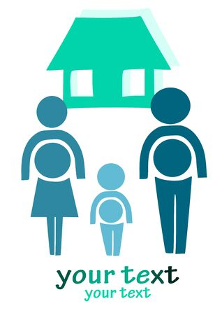Simple illustration - happy family, man, women and child. Vector