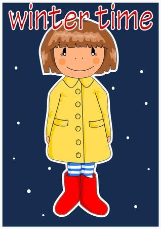 raincoat: Happy girl in yellow coat - winter time. Vector.