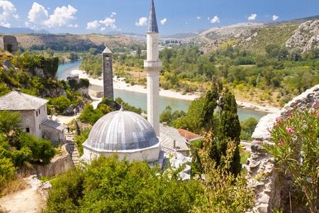 Pocitelj beauty old village. View on small mosque. Bosnia and Herzegovina.