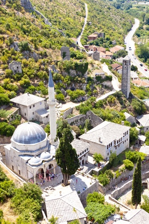 Pocitelj, aerial view. Old town in Bosnia and Herzegovina.