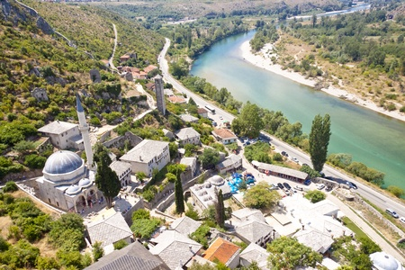 Aerial view on small town Pocitelj - Bosnia and Herzegovina, Balkans.