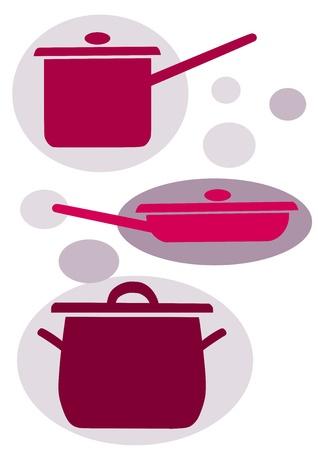 steel pan: Iconos simples del vector - Equipo de cocina Vectores